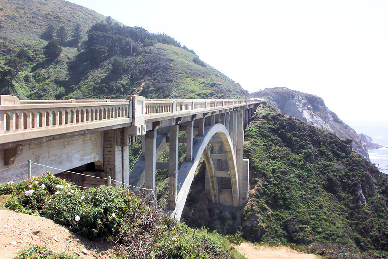 We pulled off at an overlook to photograph the Rocky Creek Bridge (it's similar to its more famous sibling, but is slightly smaller).  It's one of the bridges that allowed Highway 1 to be built without making long detours inland.  By spanning the huge canyons the road can hug the coast.