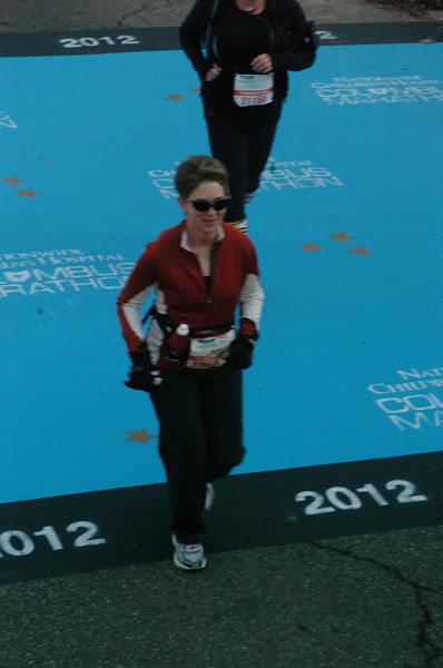 Patti, also captured by the official photographer at the halfway point.
