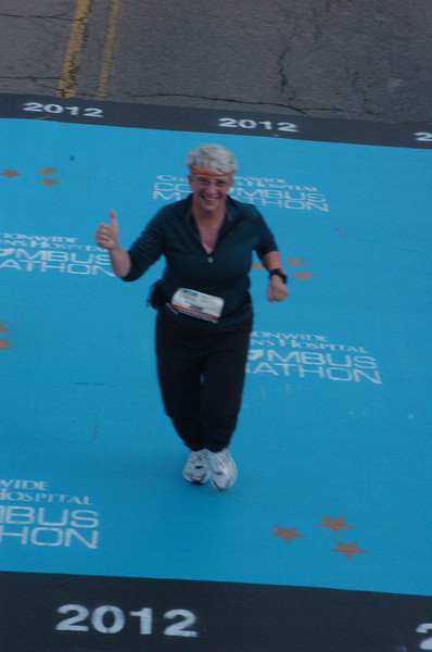 Jeane, captured by the official photographer at the halfway point.