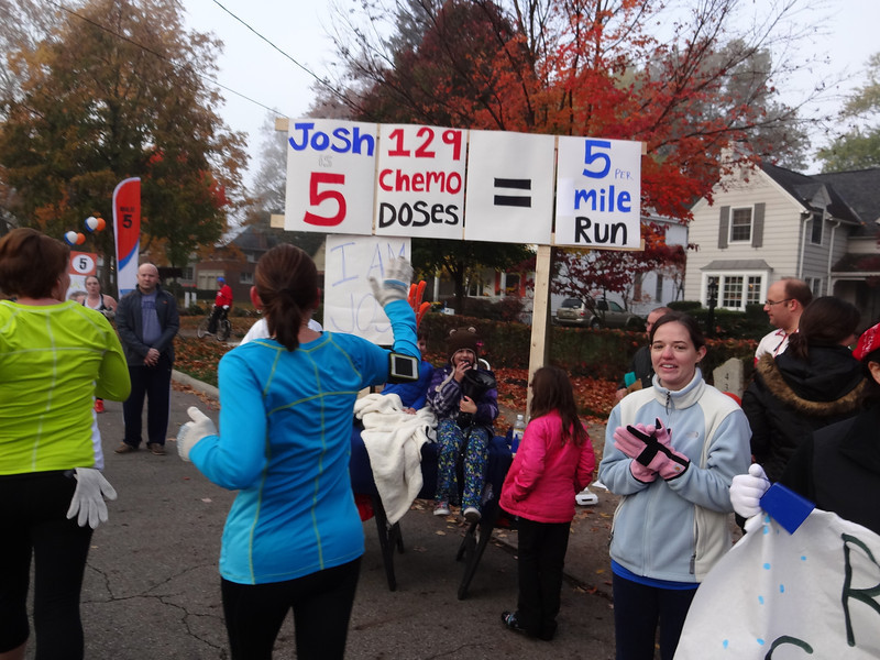 Another patient champion from Nationwide Children's Hospital awaits at the five-mile mark.