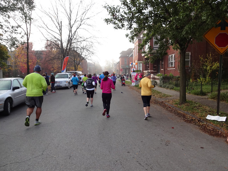 At the eight-mile mark we pass through another leafy, pleasant neighborhood.