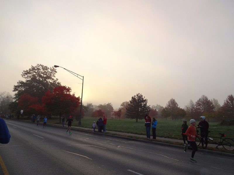 The pack opens up; it's foggy and cold, but we enjoy the fall colors.