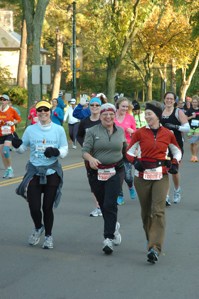 We started the race together and ran a few of the early miles together.