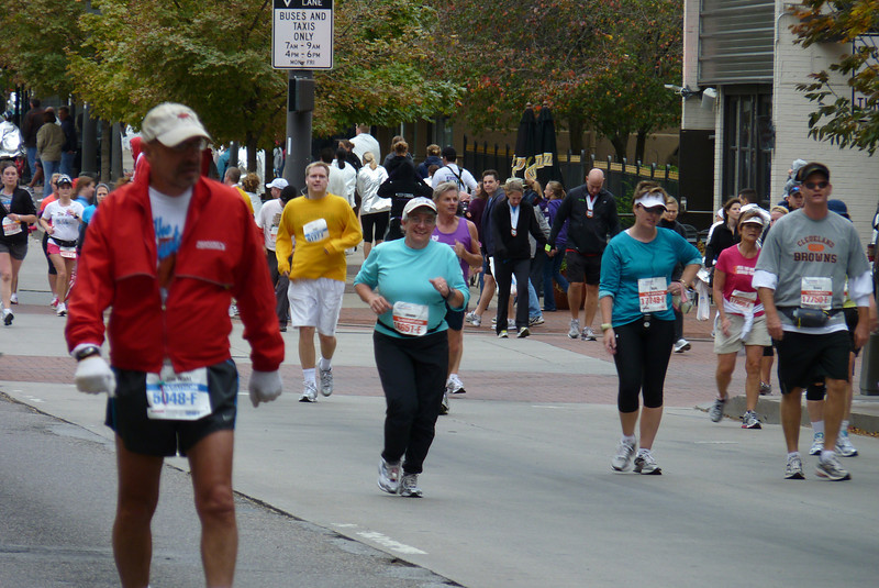 Jeane is almost done...she's approaching the finish line of the half-marathon.