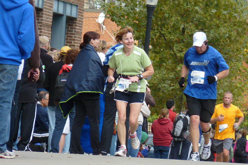 And finally, Laura appears on the approach to the marathon finish.
