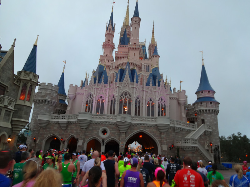 Patti's part of the race pack slows to a walk as too many people have to funnel into the narrow Cinderella's Castle.