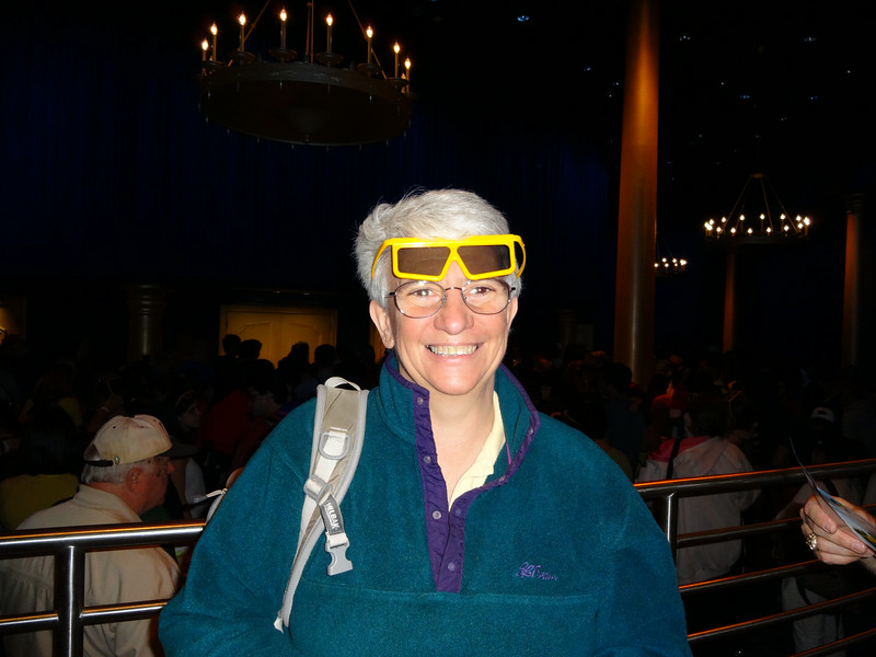 Jeane is all decked out for some 3D film.