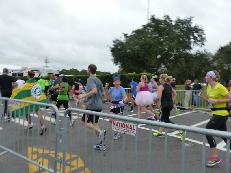Laura's making sure Lane got a good photo before she finishes this darn race!
