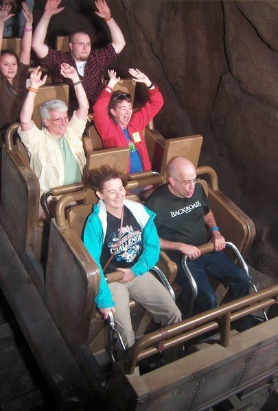 For this trip down Expedition Everest (best roller-coaster ever!), even Patti gets brave enough to put her hands up.