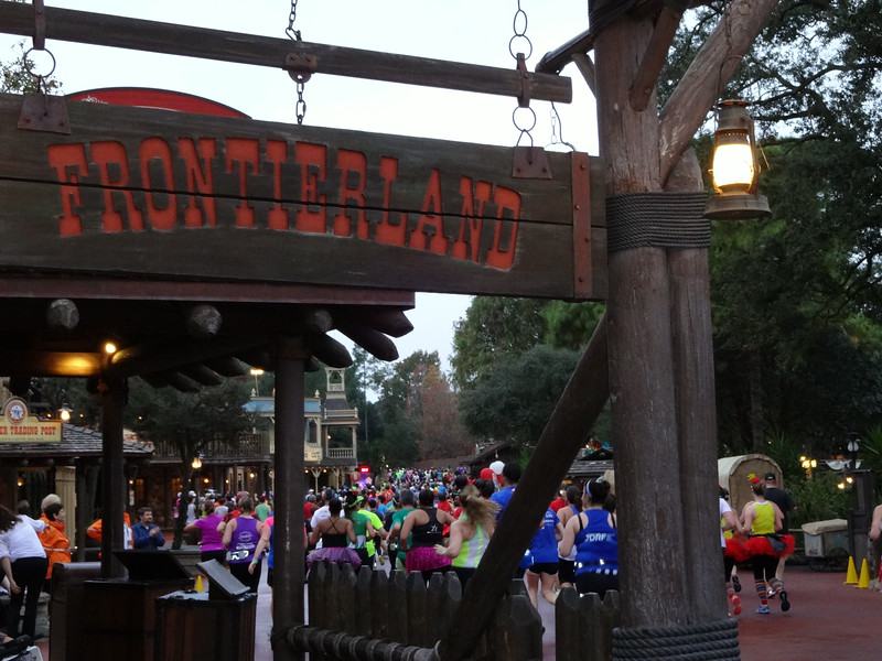 The race heads into Frontierland in the Magic Kingdom...