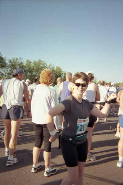 Patti is convincing herself that she's feeling powerful...ready to run 26.2 miles!