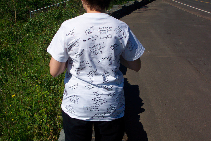 Her friends expressed their good wishes on the back side.