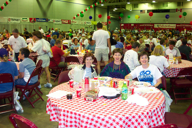 We enjoy the communal pasta dinner at the expo hall.