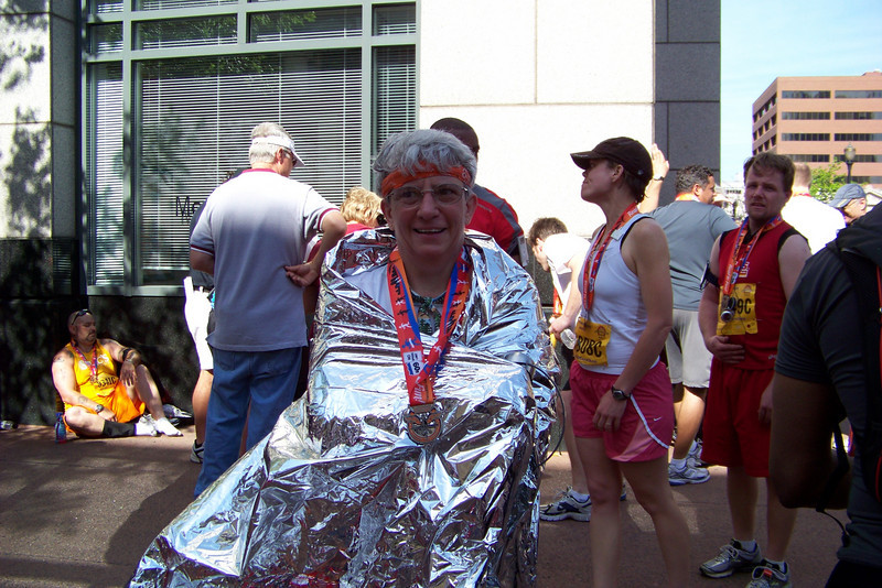 After the finish; Jeane has lost the ability to maintain homeostasis and she now appreciates the mylar blanket.
