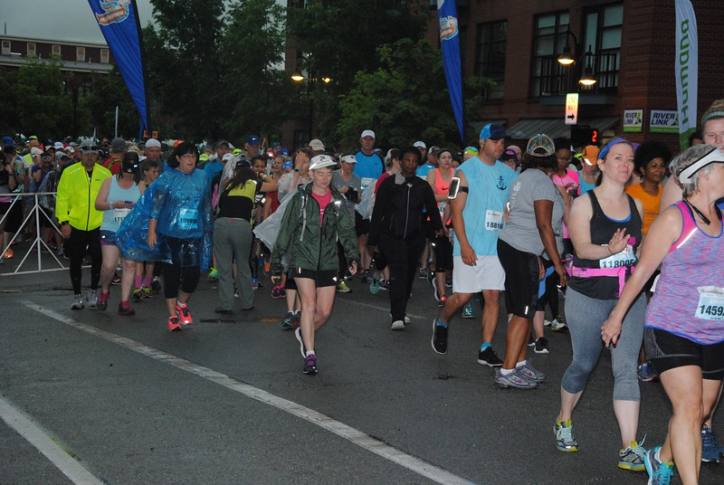 The race has started, but Patti is in one of the slow corrals inching its way toward the starting line.