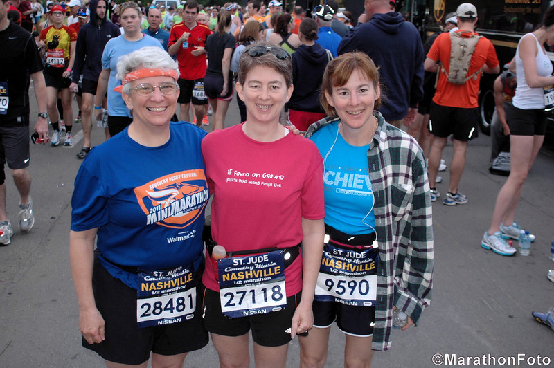Jeane, Patti, and Laura hang out at the starting line of the Nashville Country Music Half-Marathon.  April 28th, 2012