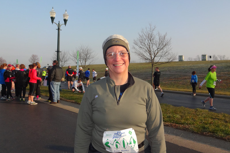 Jeane is ready to start running so she can warm up.