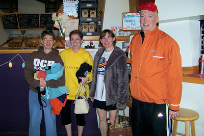 The fast and fearsome foursome (Patti, Linda, Laura, and Dean) at Nancy's Bagel Grounds after the Papa John's 10-miler, April 2010