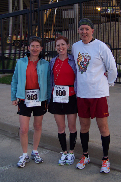 Linda and Dean join Patti before the start of the Papa John's 10 miler.  April 2010