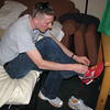 Jeff Diephuis trying our the new type of chip used at the 2008 Eugene Marathon