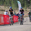 Varsity Girls: Linday Dye (left, independent) and Kelsey Phinney (Boulder HS) followed by celebrity sweep rider, Heather Irmiger of the Subaru/Gary Fisher pro team.