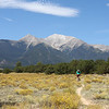 High school racer enjoys the singletrack with Mount Princeton in the background. Photo Carrie Dittmer.