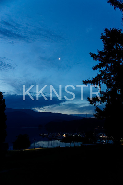Moon over Deep Cove early in the morning