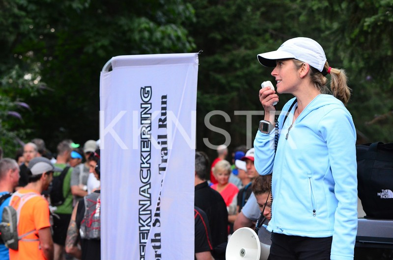 Start Line - Kelsy (Race Director) welcomes runners.  Photo by Global Coast Photography.