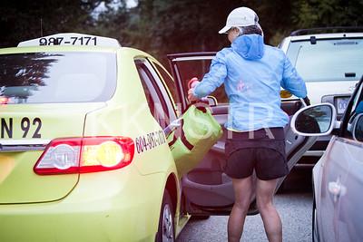 Arriving via taxi