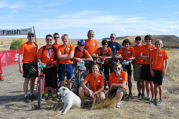 The Laramie 7220 Composite team gathered to cheer on their last rider.