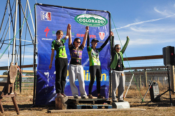 Junior Varsity Series winners take the podium.  Dominque Fenichell, Boulder High, takes first; Rachel Cutler, Boulder High, 2nd; Kelsey Bohanan, Colorado Rocky Mountain School, 3rd; and Ashleigh Weibel, 4th.