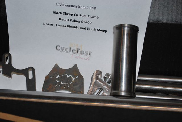 Custom titanium frame set donated by James Bleakly and Black Sheep.  Photo by Jake Kirkpatrick.