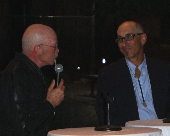 Gary Fisher answers questions asked by Larry Grossman, MC.  Photo Carrie Dittmer.