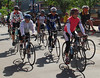 """Riders roll out on crisp beautiful morning with Tom Danielson, """"Ride to Eat, Eat to Ride"""" event May 6, 2012 as part of the Colorado League Cyclefest weekend."""