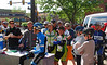 Tom Danielson, Garmin-Barracuda briefs the crowd. It is a Sunday casual, social ride, so stick together. Once the group hits Left Hand Canyon feel free to charge it. Photo Tammy Welshon.