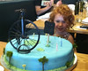 Bea Flagiello admires her father, Fabio's birthday cake during the Cyclefest lunch.