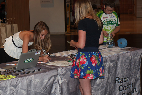 Guests Samantha Bradley checks in with volunteers, Olivia Noel and Cadel Nixon. Photo Rob Noble.