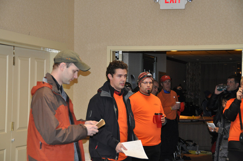 Course Designer Chris Yager, Race Director Tim Curtin, and Course Designer Graham Bates at the pre-race briefing