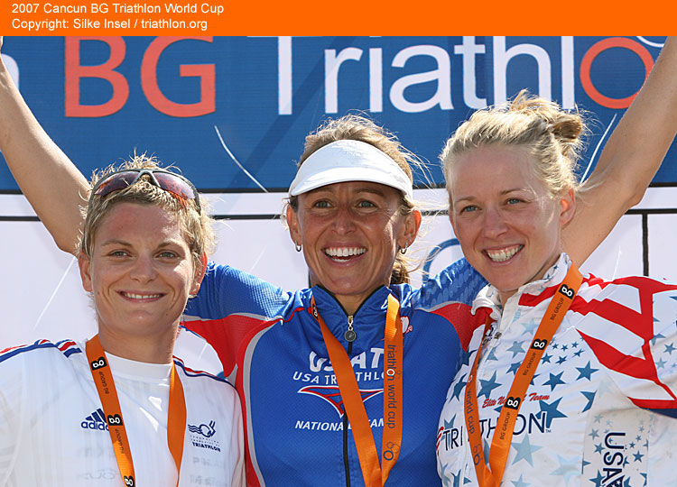 2007 ITU World Cup Cancun Sarah Haskins (far right) takes 3rd Place