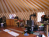 Randy and Katy's yurt.  It was a wonderful shelter from the raging cold and rain outside.