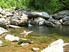 We couldn't resist the cool water in a secluded swimming hole.
