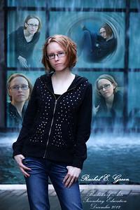 Senior photographs taken in downtown Fort Worth. Collaged in Photoshop. Model: Rachel Green.