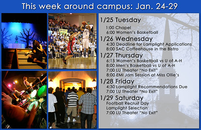 Weekly event calendar designed while interning with Lambuth University's University Relations Department.
