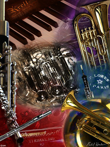 Commission requiring shooting photographs of the client's family instruments, combined into a final collage using Photoshop.