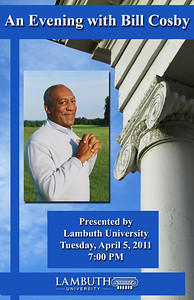"""Program Cover for """"An Evening with Bill Cosby"""" school fundraiser. Designed for Lambuth University during my internship in their University Relations department."""