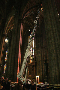 How many people does it take to change a lightbulb in the cathedral? Only two, but you need a construction lift.