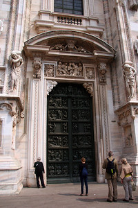 Scale of the smaller doors on either side of the main entryway.