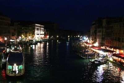 The Grand Canal at night. Shot from the bridge at Rialto.