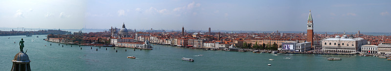 Panoramic I created combining four of the photos I took from the belfry of San Giorgio.