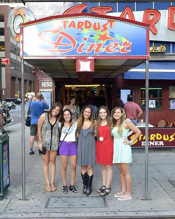 Rachel and friends at Ellens Stardust Diner